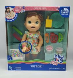 Baby Alive Super Snacks Snackin`Sara Doll - Brunette Eats Po