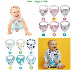 Baby Bandana Cotton Adjustable Drool Bibs Teething Toys Boy