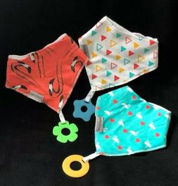 Baby Bandana Drool Bibs 3 Pack Teething Toys 100% Organic Co