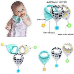 Baby Bandana Drool Bibs 3-Pack And Teething Toys 3-Pack Made