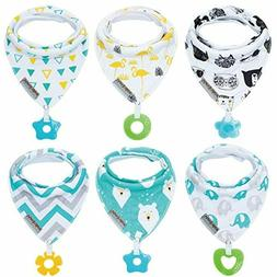 Baby Bandana Drool Bibs 6-Pack and Teething Toys 6-Pack Made
