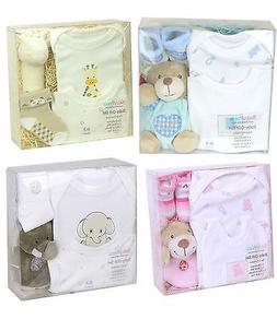 BabyPrem Baby Boxed 4 Piece Gift Set Soft Toy Bodysuit Bib a