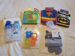 Baby Boy lot BIBS bottles, toys, hat mittens, teething toy