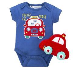 Baby Boys Car Print Bodysuit & Soft Toy Car 2 Piece Gift Set
