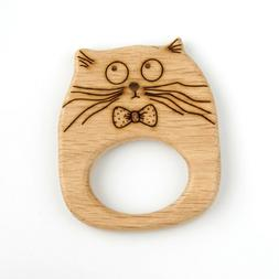 Baby Cat Toy Teether Organic Wood Baby Shower Gift Kitty