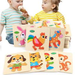 Baby Colorful Wooden Jigsaw Puzzles Toy for Toddlers Early E