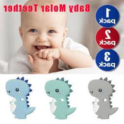 Baby Dinosaur Shape Silicone Teething Mitt Teether Mitten Gl