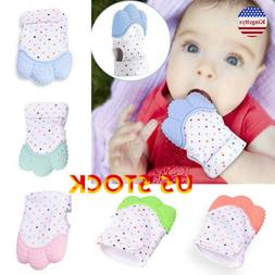 Baby Glove Teething Mitten Silicone Heart Teether Ring Toy 3