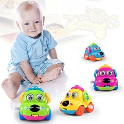 Baby Kids Clockwork Funny Toy Cartoon Puppy Clockwork Car Ed