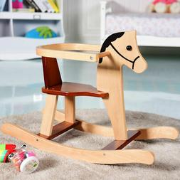 Baby Kids Toy Wooden Rocking Horse Animal Rider Chair Bar Se