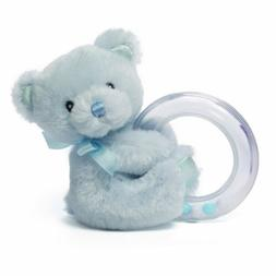 Gund Baby My 1st Teddy Plush Rattle Ring Toy, Blue