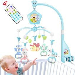 Baby Crib Mobile with Light and Music Remote Toy for Pack an