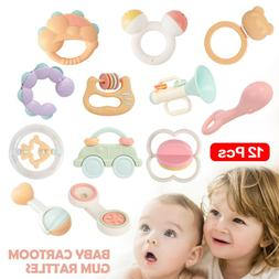 Baby Rattles Teether With Sound Car Bed Hanging Musical Funn