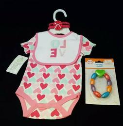 Baby Girl Romper Set Bib Head Band Love Hearts Outfit Baby G