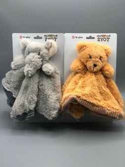 Baby Security Blanket Toy With Rattle - Bear or Elephant - B