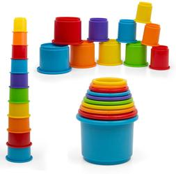 Kidsthrill Baby Stacking Cups Toy - Stackable 10 pc Rainbow