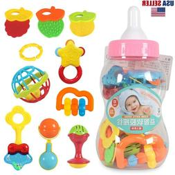 Baby Teether Rattle Set,Shaker Grab Rattle Teether Toys for