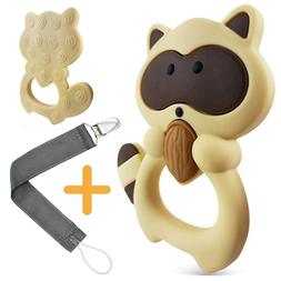 Baby Teething Toys: 100% Silicone teether with Pacifier Clip