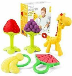 Baby Teething Toys for Newborn 5-Pack Freezer Safe BPA Free