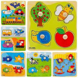 Baby Toddler Wooden Jigsaw Puzzle Alphabet Letters Animal Ki