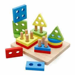 Kids Wooden Puzzle Building Blocks Toys Colors Shapes Early