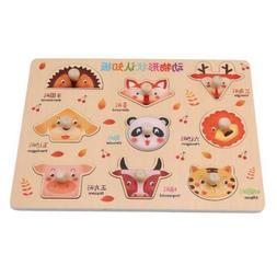 Baby Toys Montessori Wooden Puzzle Board Digital Fruit Anima