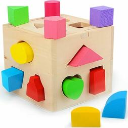 Baby Toys Shape Sorting Cube Classic Educational Wooden Chil