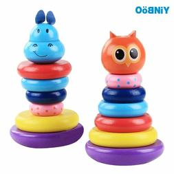 Baby Toys Wooden Rainbow Stacking Ring Tower Blocks For Chil