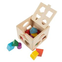 Baby Wooden Toy Box Shape Sorter Colors Cube Developmental P