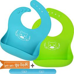 DREAM BEAR® Waterproof Soft Silicone Baby Bibs,Easy Clean W