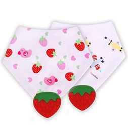 Baby Bandana Drool Bibs with Strawberry Teether, Unisex Gift