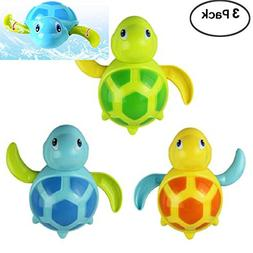WedFeir 3pcs Bath Swimming Turtle Toy for Baby Toddler, Wind