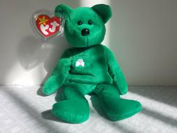 Ty Beanie Babies Retired Erin Bear Irish Green Shamrock Rare