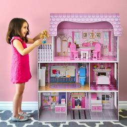 Big Wooden Dollhouse Play House Toy + Furnitures Rooms Set F