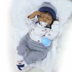 Black African American Reborn Baby Boy Doll 20'' Lifelike Ne