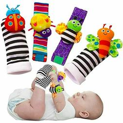 Blige SMTF Cute Animal Soft Baby Socks Toys Wrist Rattles an