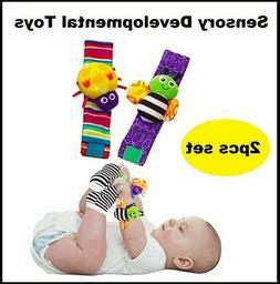 Blige SMTF Cute Animal Soft Baby Socks Toys Wrist Rattles an
