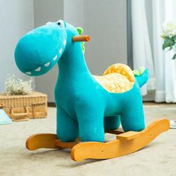 Blue Dinosaur Rocking Horse Baby Toys Kids Ride On Plush Stu