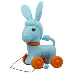 Blue Donkey Pull Toy. Pull Along Donkey Toy on Wheels