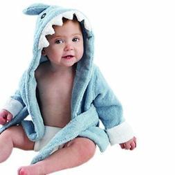 "Baby Aspen""Let the Fin Begin"" Blue Terry Shark Robe, Blue, 0"
