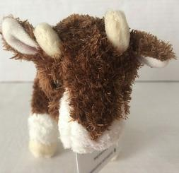 "BUFFY 6"" long stuffed BABY BROWN GOAT BROWN plush animal by"