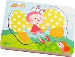 HABA Butterfly Magic 4 Piece Layered Wooden Puzzle for Ages