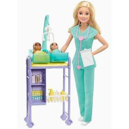 Barbie Careers Baby Doctor Playset With Blonde Doll, 2 Infan
