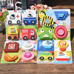 1pc Child Wood Puzzle Cartoon Animal Traffic Infant Baby 6 M