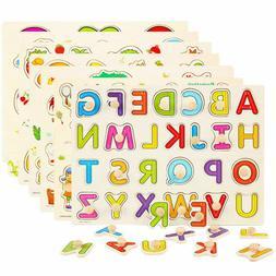 Children Kids Alphabet ABC Numbers 123 wooden jigsaw learnin