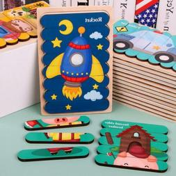 Children's Wooden Creative Strip Puzzle Double-Sided Traffic