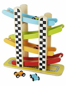 Colorful Wood Race Track Ramp with 4 Wooden Race Cars - Soli