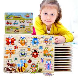 Colorful Wooden Peg Puzzle Jigsaw For Preschool Early Educat