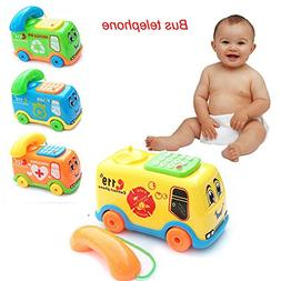 he shao ju Cute 2019 Baby Toys Music Cartoon Bus Phone Educa