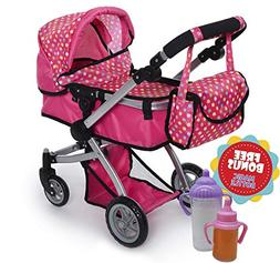 Exquisite Buggy Deluxe POLKA DOTS Doll Pram Stroller with Sw